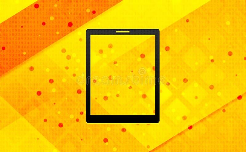 Bakgrund för abstrakt digitalt baner för minnestavlasymbol gul royaltyfri illustrationer