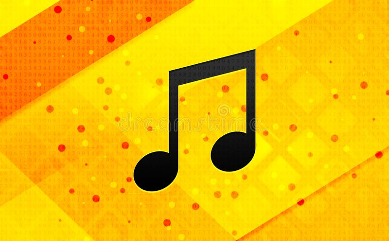 Bakgrund för abstrakt digitalt baner för musikanmärkningssymbol gul vektor illustrationer