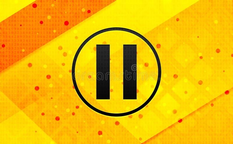 Bakgrund för abstrakt digitalt baner för paussymbol gul royaltyfri illustrationer