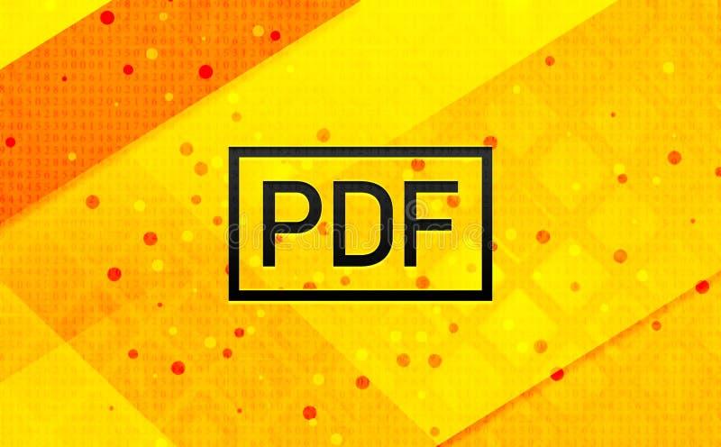 Bakgrund för abstrakt digitalt baner för PDF-symbol gul stock illustrationer
