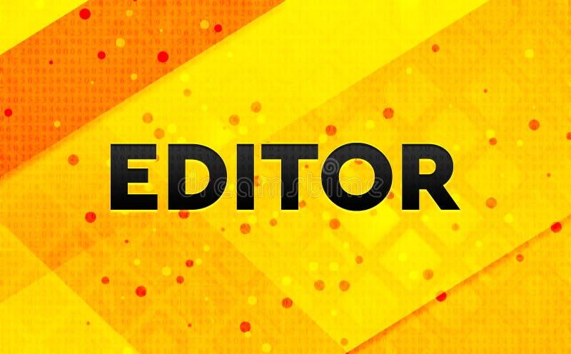 Bakgrund för abstrakt digitalt baner för redaktör gul stock illustrationer