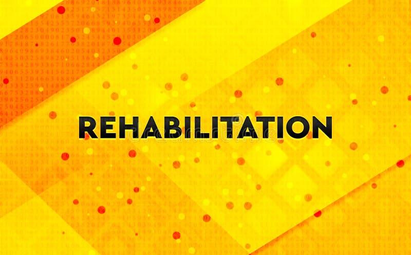 Bakgrund för abstrakt digitalt baner för rehabilitering gul stock illustrationer