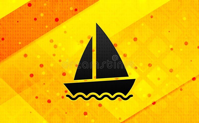 Bakgrund för abstrakt digitalt baner för segelbåtsymbol gul royaltyfri illustrationer
