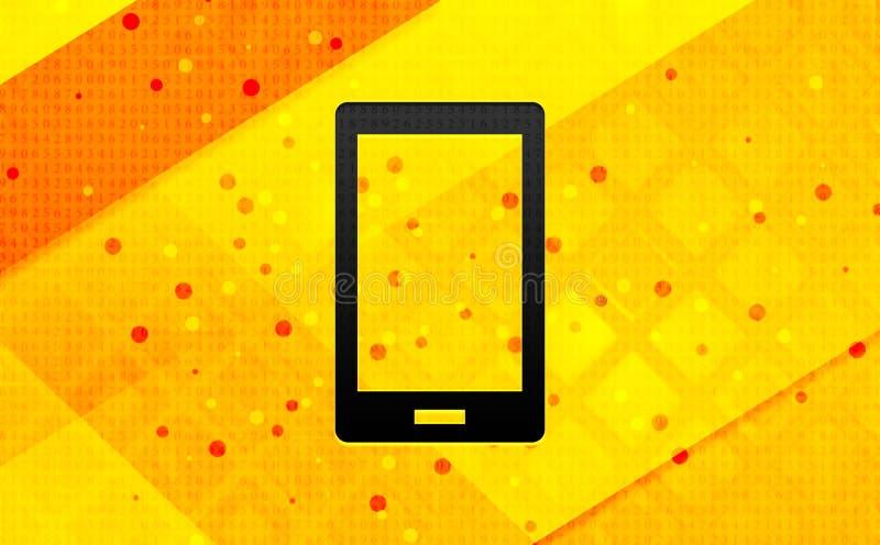 Bakgrund för abstrakt digitalt baner för Smartphone symbol gul royaltyfri illustrationer