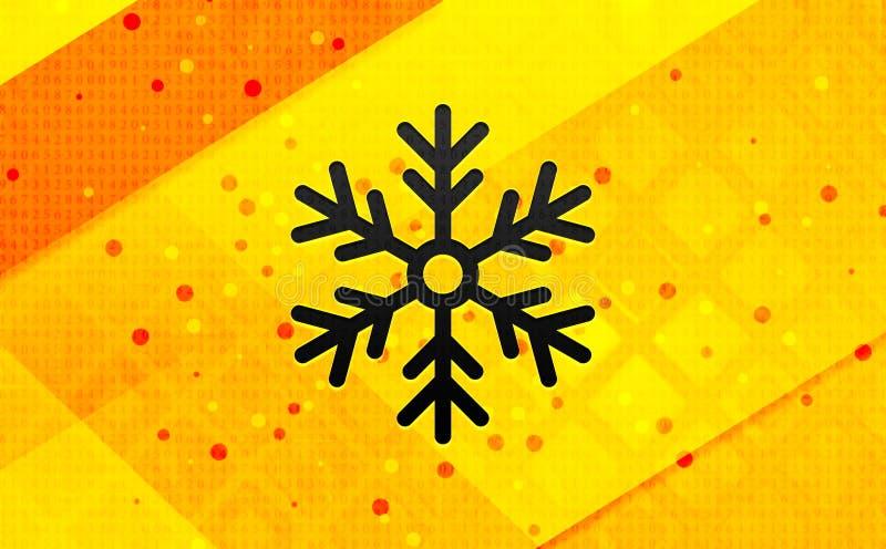 Bakgrund för abstrakt digitalt baner för snöflingasymbol gul vektor illustrationer