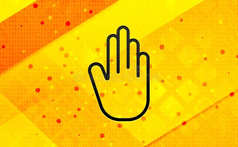 Bakgrund för abstrakt digitalt baner för stopphandsymbol gul royaltyfri illustrationer