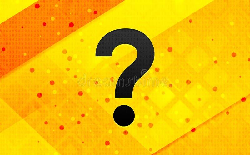 Bakgrund för abstrakt digitalt baner för symbol för frågefläck gul vektor illustrationer