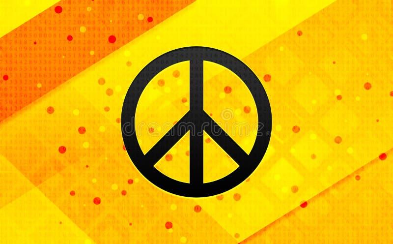 Bakgrund för abstrakt digitalt baner för symbol för fredtecken gul stock illustrationer