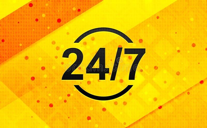24/7 bakgrund för abstrakt digitalt baner för symbol gula stock illustrationer