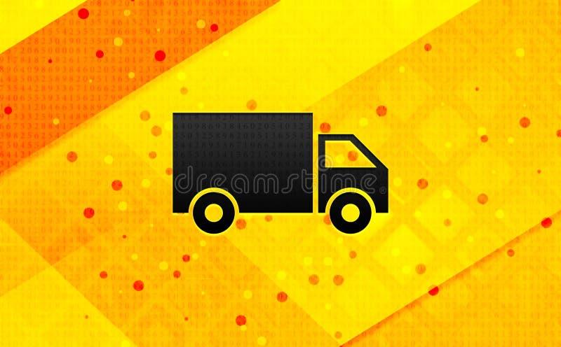Bakgrund för abstrakt digitalt baner för symbol för leveranslastbil gul vektor illustrationer
