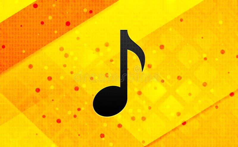 Bakgrund för abstrakt digitalt baner för symbol för musikalisk anmärkning gul stock illustrationer
