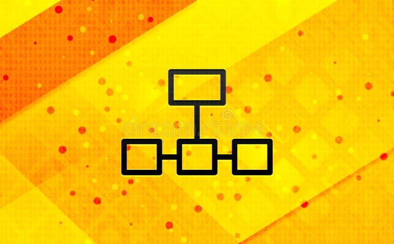 Bakgrund för abstrakt digitalt baner för symbol för nätverksanslutningar gul vektor illustrationer