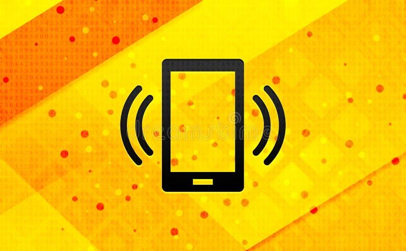 Bakgrund för abstrakt digitalt baner för symbol för Smartphone nätverkssignal gul royaltyfri illustrationer