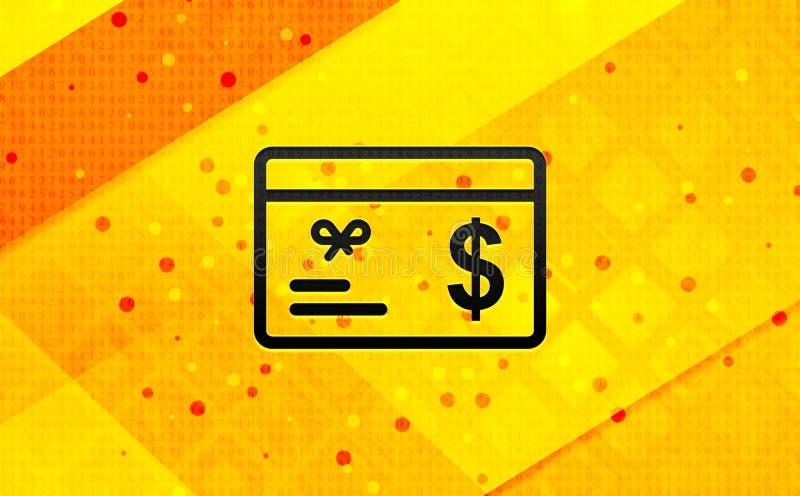 Bakgrund för abstrakt digitalt baner för symbol för tecken för dollar för gåvakort gul stock illustrationer