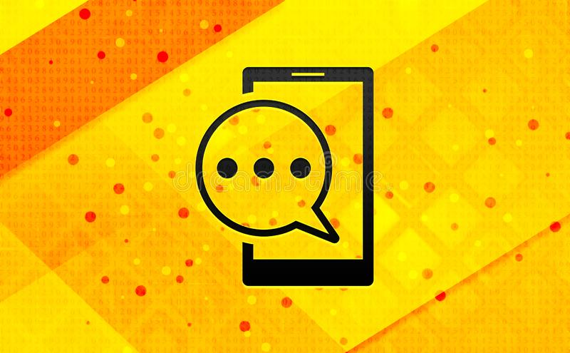 Bakgrund för abstrakt digitalt baner för symbol för telefon för textmeddelande gul royaltyfri illustrationer