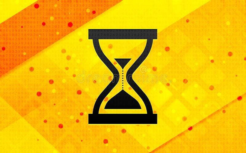 Bakgrund för abstrakt digitalt baner för symbol för tidmätaresandtimglas gul vektor illustrationer