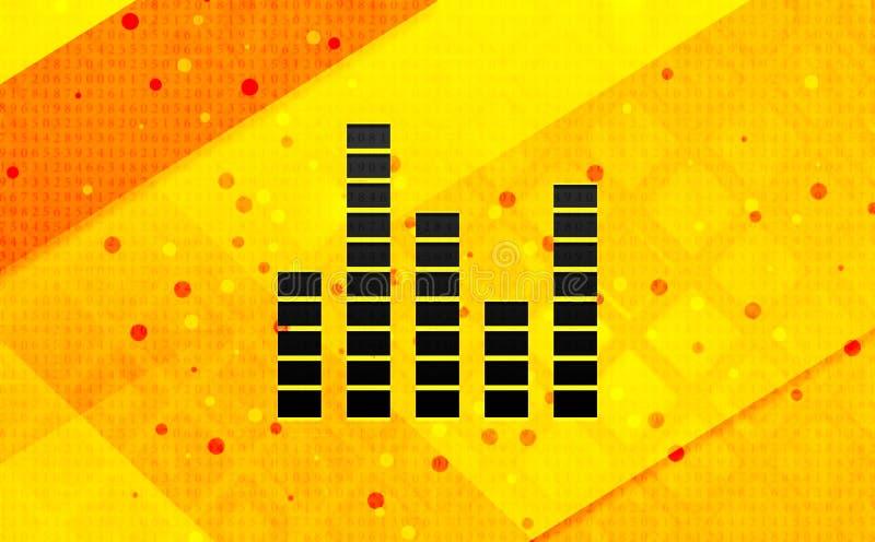 Bakgrund för abstrakt digitalt baner för utjämnaresymbol gul stock illustrationer