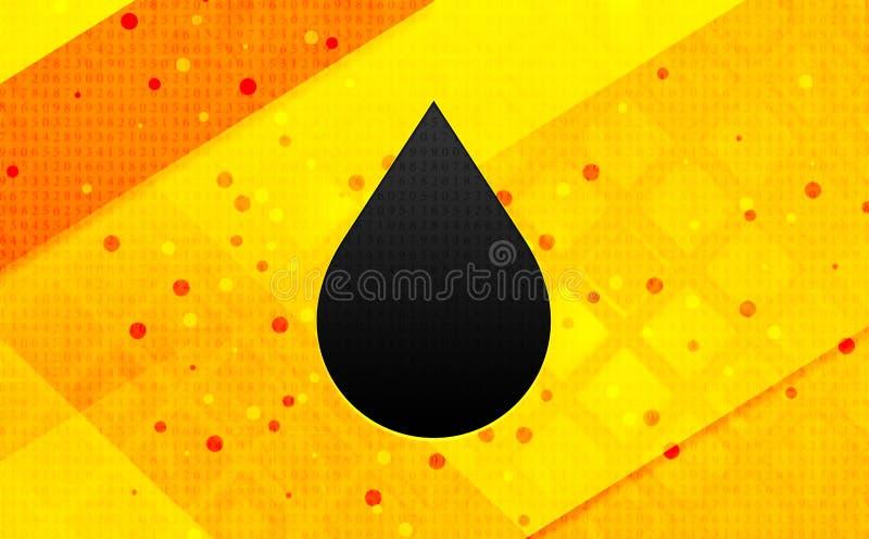 Bakgrund för abstrakt digitalt baner för vattendroppsymbol gul royaltyfri illustrationer