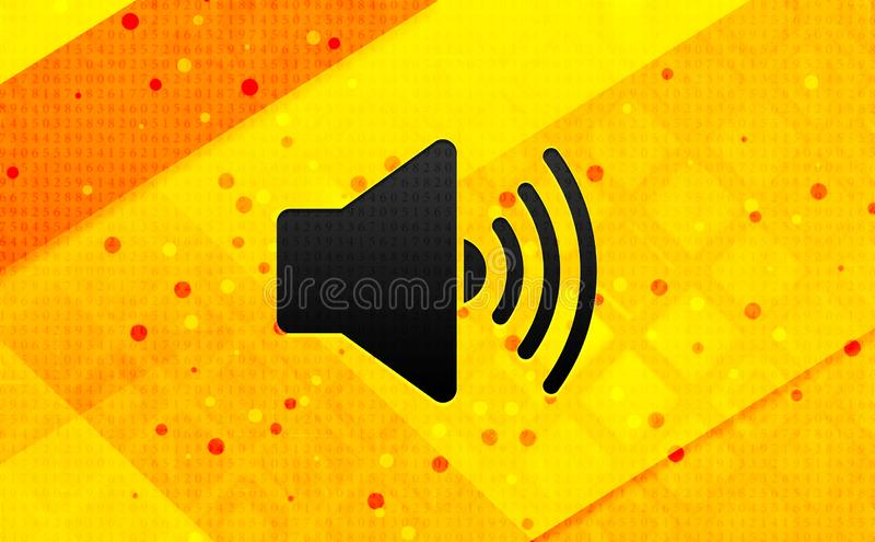 Bakgrund för abstrakt digitalt baner för volymhögtalaresymbol gul royaltyfri illustrationer