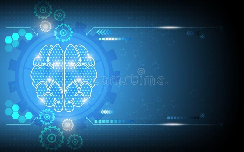 Bakgrund för abstrakt för digitalt system för vektor funktionsduglig snille för hjärna royaltyfri illustrationer