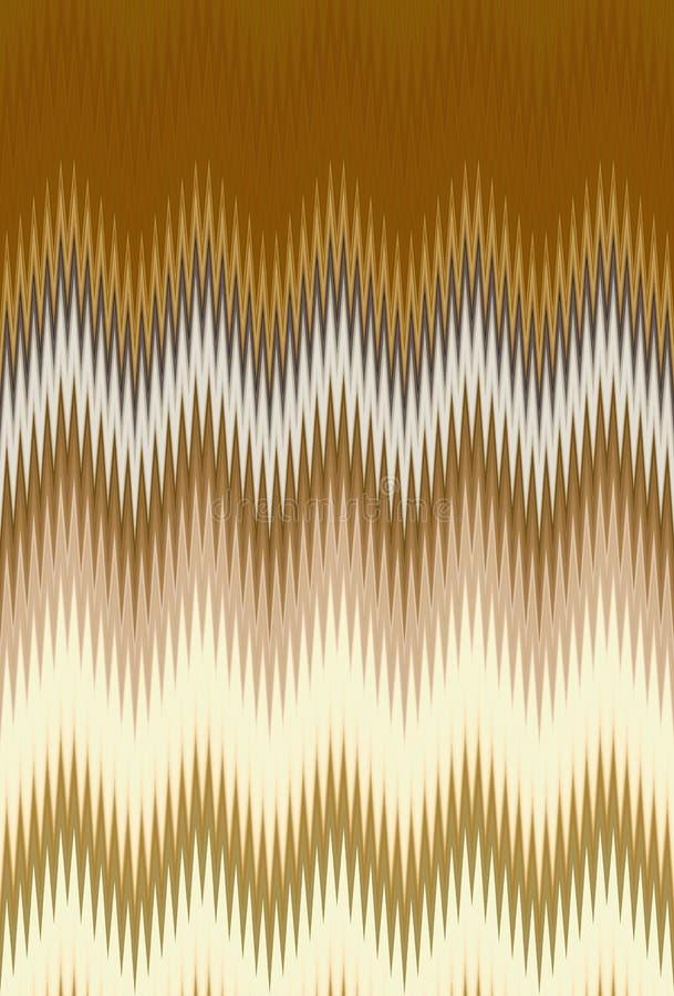 Bakgrund för abstrakt konst för modellen för vågen för sicksacken för guld- metall för sparren tenderar guld- stock illustrationer