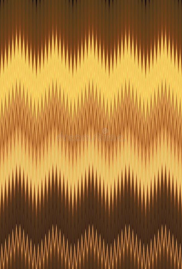 Bakgrund för abstrakt konst för modellen för vågen för sicksacken för guld- metall för sparren tenderar guld- vektor illustrationer