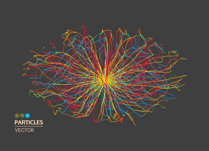 Bakgrund för abstrakt vetenskap eller teknologi Samling med dynamiska partiklar vektor illustrationer