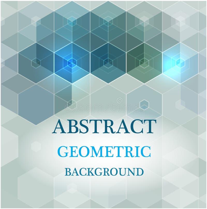 Bakgrund för abstrakt vetenskap för vektor Geometrisk design för sexhörning royaltyfri illustrationer