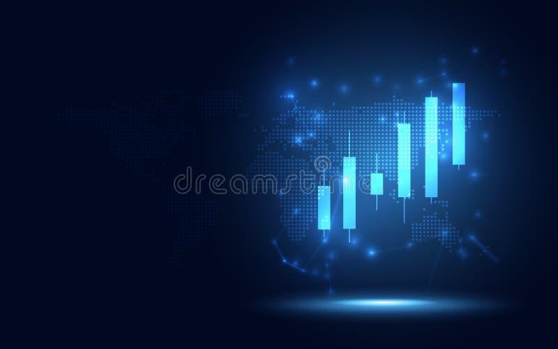 Bakgrund för affär för abstrakt begrepp för omformning för futuristiskt diagram för lönelyftstearinljuspinne digital Stor data- o vektor illustrationer