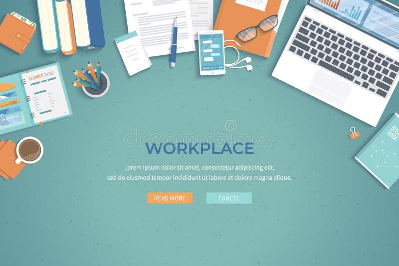 Bakgrund för affärsarbetsplatsskrivbord Bästa sikt av tabellen, bärbar dator, mapp, dokument, notepad, stadsplanerare, böcker, ha stock illustrationer