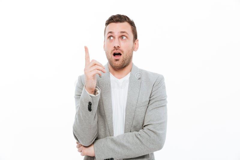 Bakgrund för affärsmanStanding Isolated Over vit arkivfoton