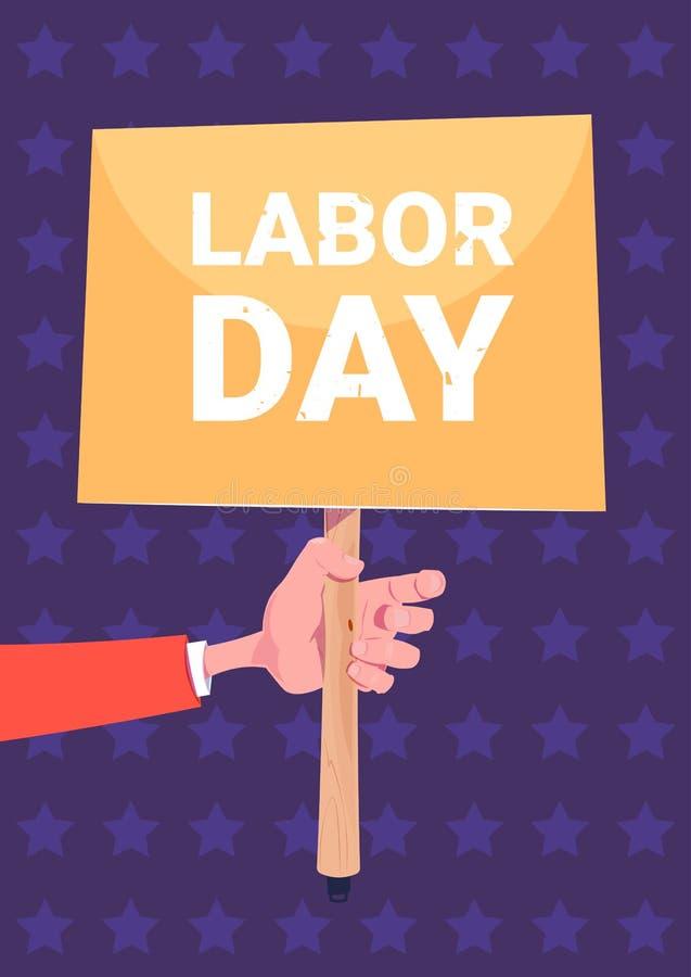 Bakgrund för affisch för ferie för arbets- dag för baner för hand hållande stock illustrationer
