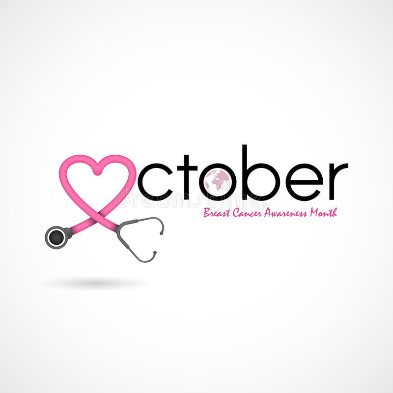 Bakgrund för aktion för månad för bröstcancerOktober medvetenhet Kvinnor royaltyfri illustrationer