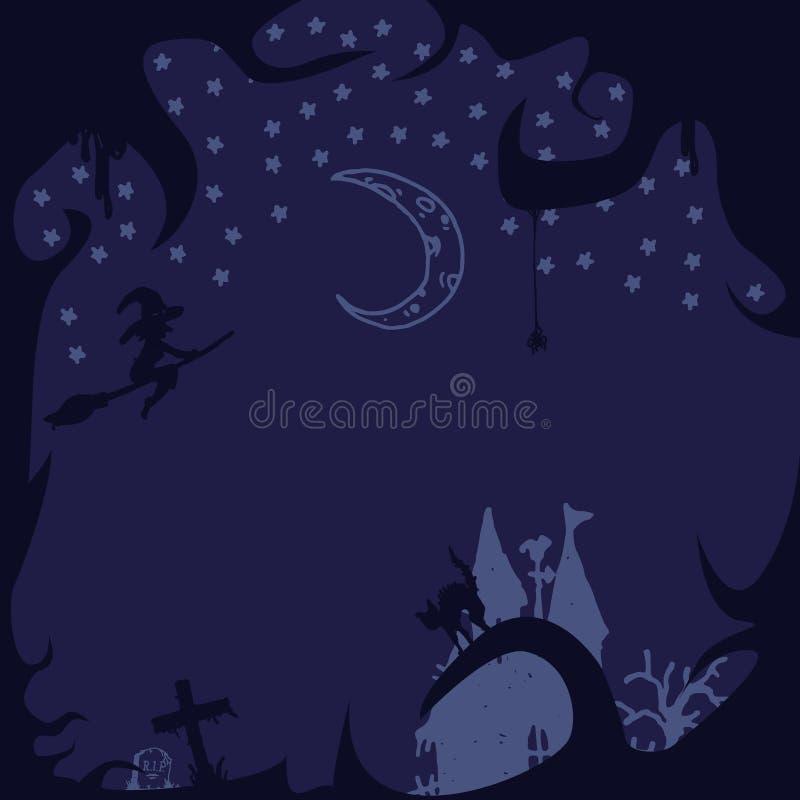 Bakgrund för allhelgonaaftonvektor Nightly royaltyfri illustrationer
