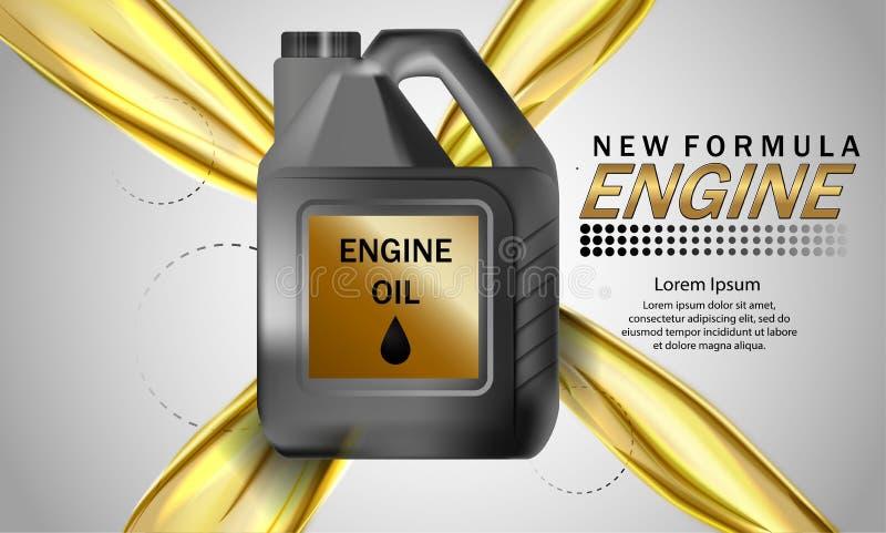Bakgrund för annonsering för motorolja Vektorillustration med realistisk kanister- och motorolja på ljus bakgrund 3d vektor illustrationer
