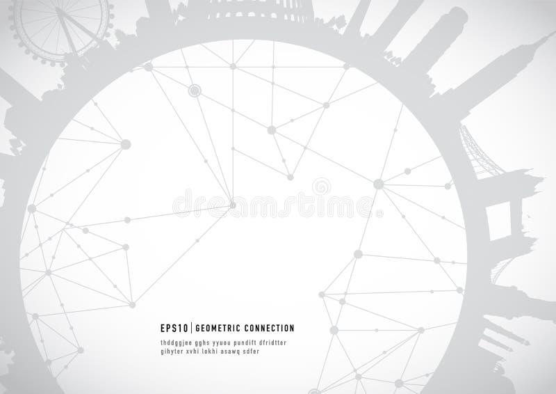 Bakgrund för anslutning för Cityscapegränsmärken geometrisk vektor illustrationer