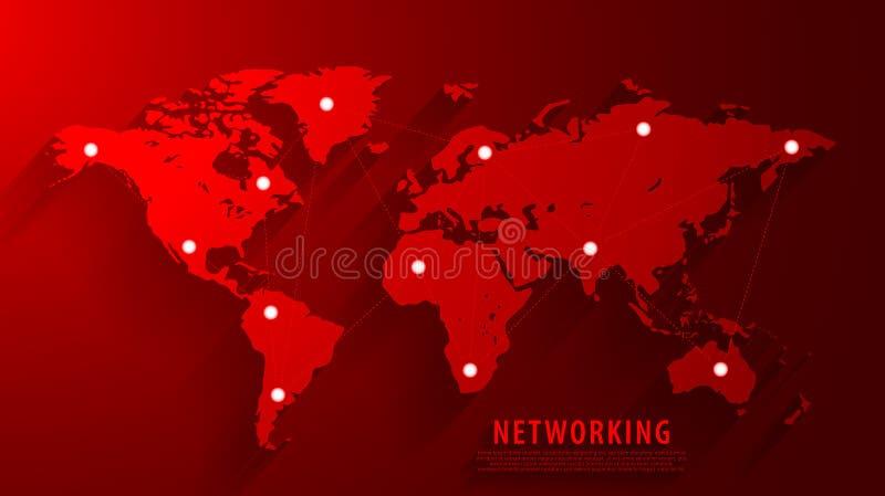 Bakgrund för anslutning för globalt nätverk, röd världskarta, vectorepsmapp vektor illustrationer
