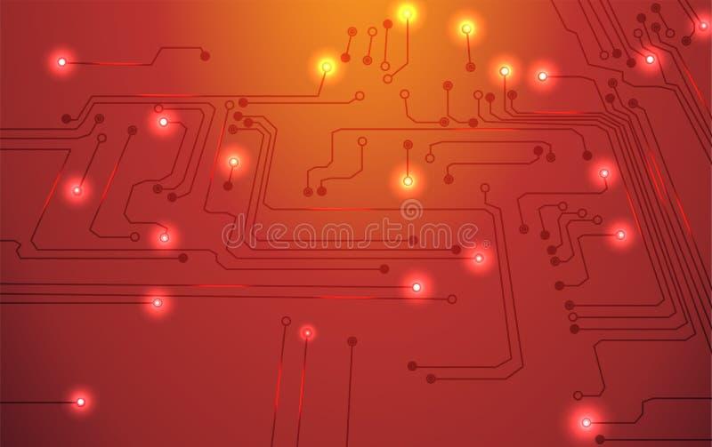 Bakgrund för apelsin för strömkretsbräde stock illustrationer