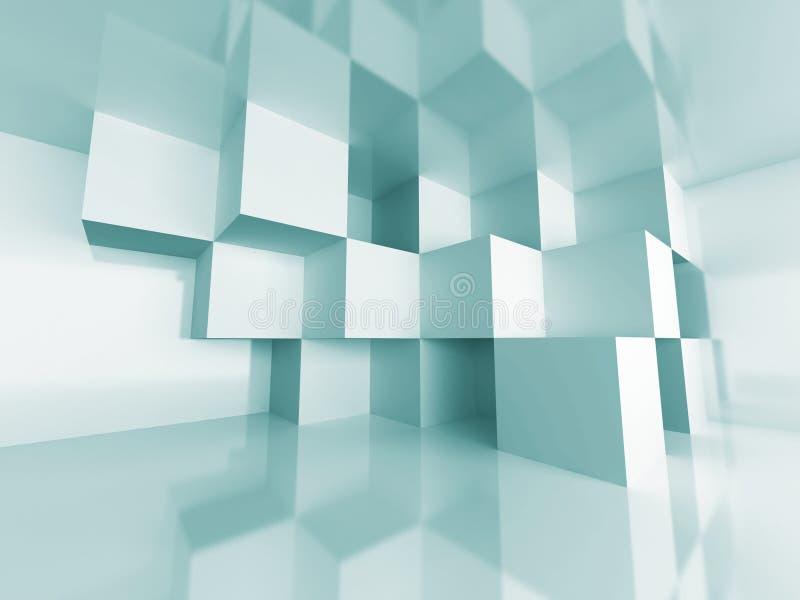 Bakgrund för arkitektur för abstrakt kubdesignrum inre royaltyfri illustrationer