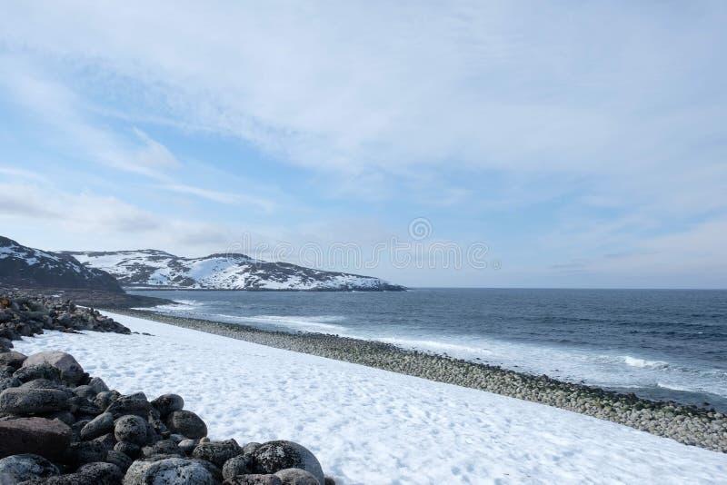 Bakgrund för arktiskt hav med den snöig kusten in royaltyfri fotografi