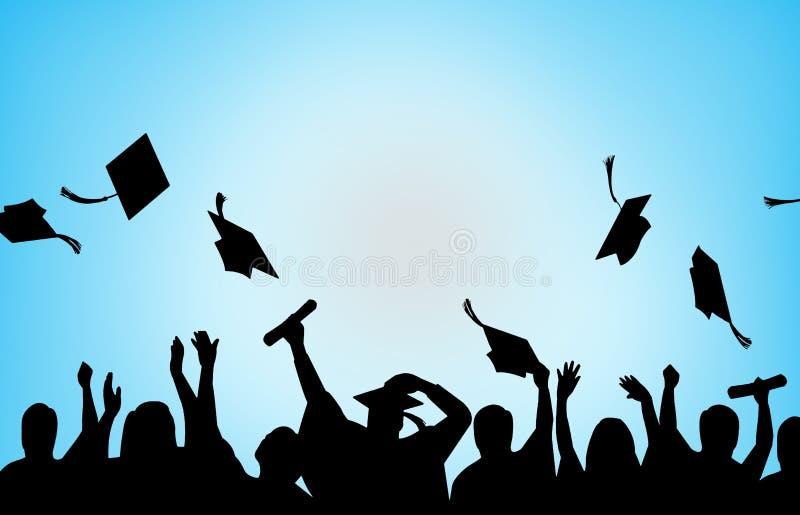 Bakgrund för avläggande av examenberömuniversitetsstudenter royaltyfri illustrationer