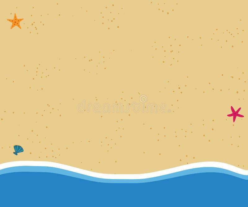 Bakgrund för bästa sikt av den guld- sandiga stranden i plan symbolsdesign royaltyfri illustrationer