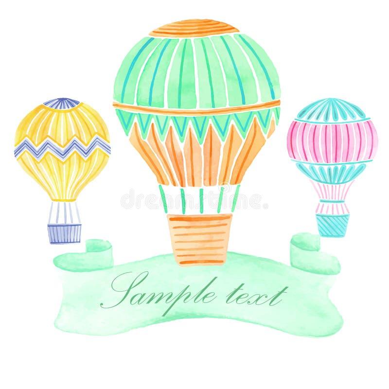 Bakgrund för ballong för varm luft för vattenfärg royaltyfri illustrationer