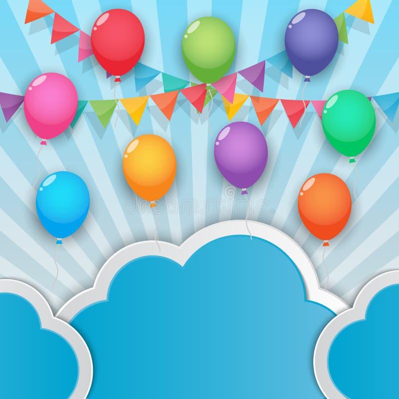 Bakgrund för ballong- och partiflaggahimmel vektor illustrationer