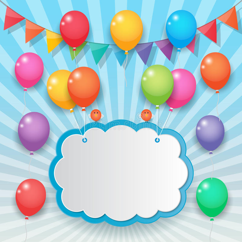 Bakgrund för ballong- och partiflaggahimmel stock illustrationer