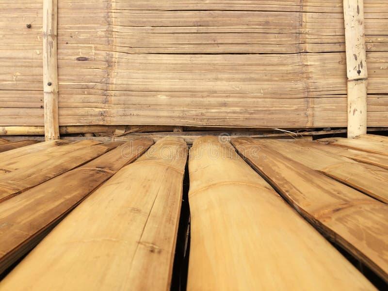 Bakgrund för bambuväggtextur, plankabambuträ för grafisk ställningsprodukt royaltyfri bild