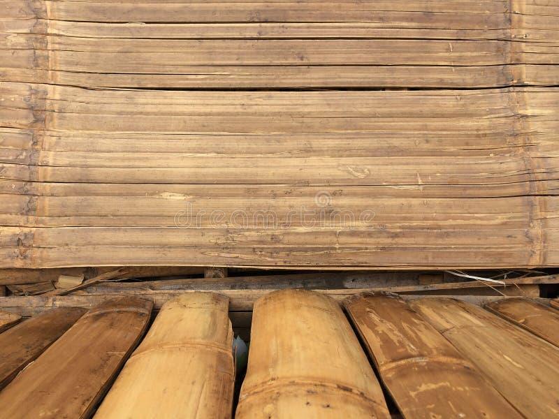 Bakgrund för bambuväggtextur, plankabambuträ för grafisk ställningsprodukt arkivfoto