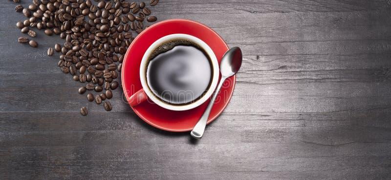 Bakgrund för baner för kaffekopp arkivfoto