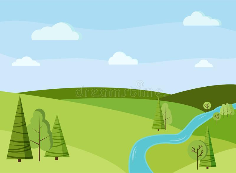 Bakgrund för Beautiaful vår- eller sommarfältlandskap med gröna träd, granar, fält, flod, moln stock illustrationer