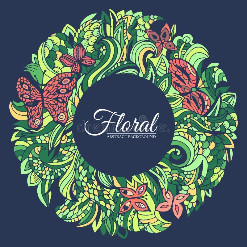 Bakgrund för begrepp för cirkel för runda för abstrakt konst för naturgräsplanklotter Vektorillustrationdesign av dekorativt mode vektor illustrationer